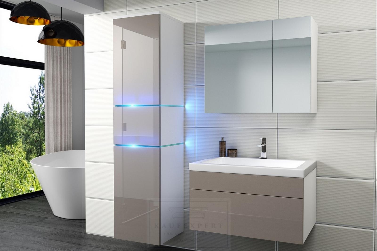 kaufexpert badm bel set ledox 170 cm cappuccino hochglanz wei keramik waschbecken badezimmer. Black Bedroom Furniture Sets. Home Design Ideas