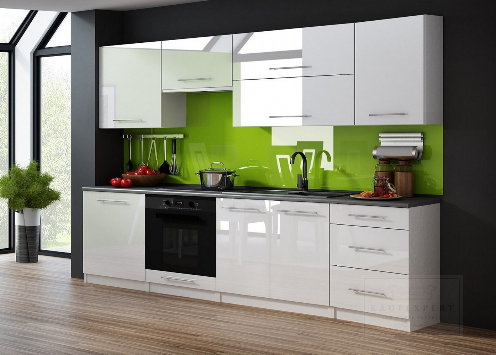 kaufexpert k chenzeile linda wei hochglanz 240 cm k che k chenblock mdf arbeitsplatte. Black Bedroom Furniture Sets. Home Design Ideas
