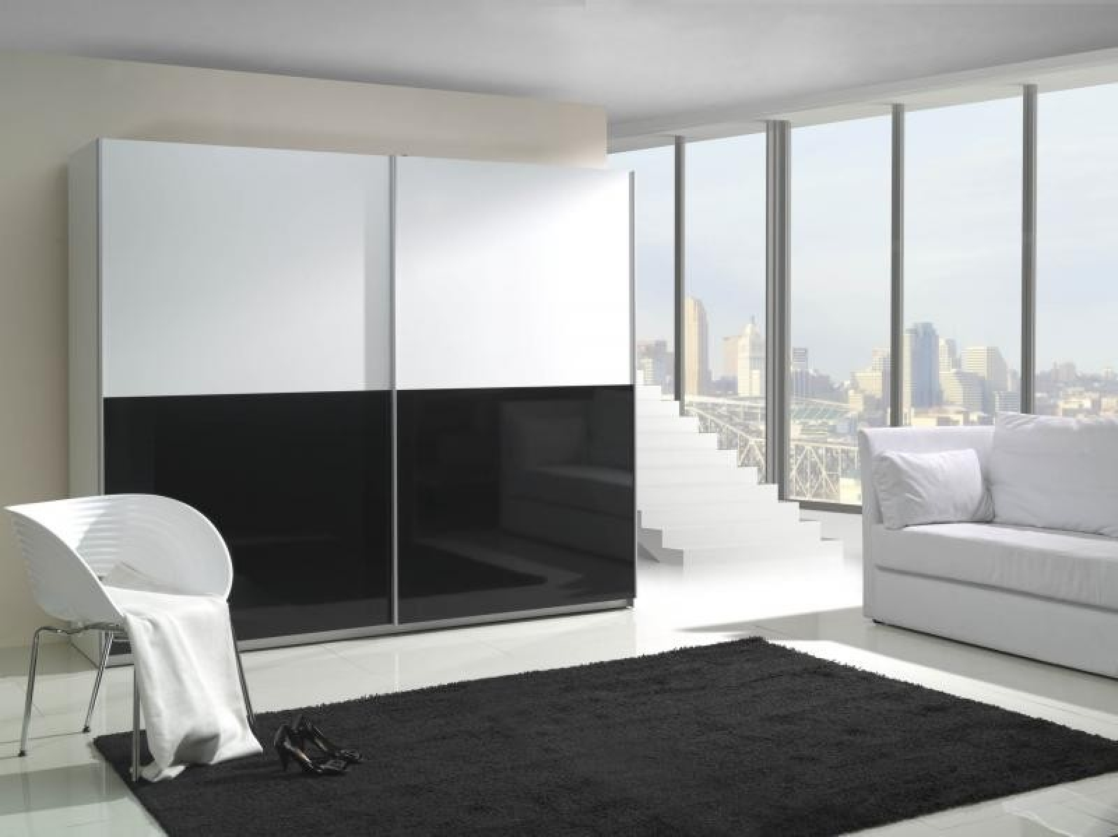 Kleiderschrank schiebetüren weiß hochglanz  KAUFEXPERT - Schwebetürenschrank 244 cm Prestige 5 Weiß Schwarz ...
