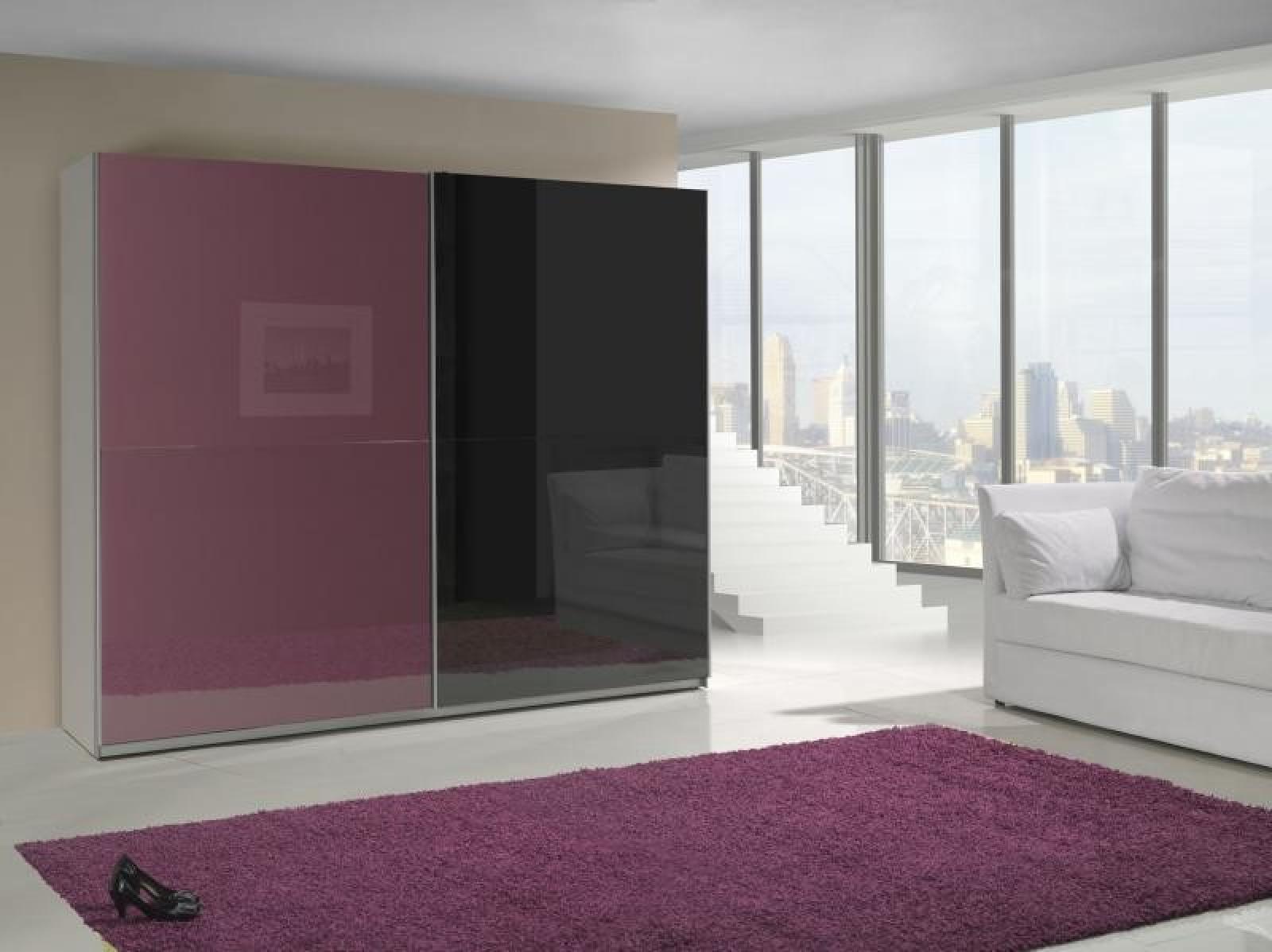 Kleiderschrank schiebetüren schwarz  KAUFEXPERT - Schwebetürenschrank 244 cm Prestige 8 Violett Schwarz ...
