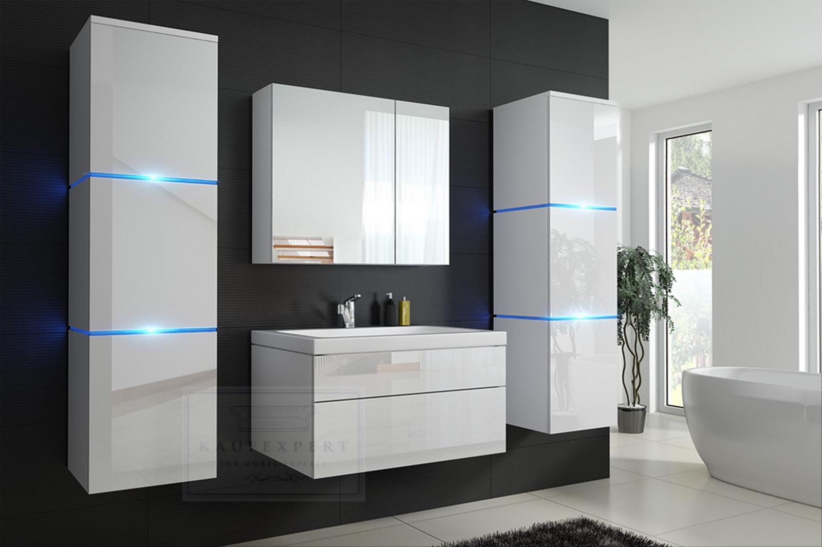 kaufexpert badm bel set lux new wei hochglanz keramik waschbecken badezimmer led beleuchtung. Black Bedroom Furniture Sets. Home Design Ideas
