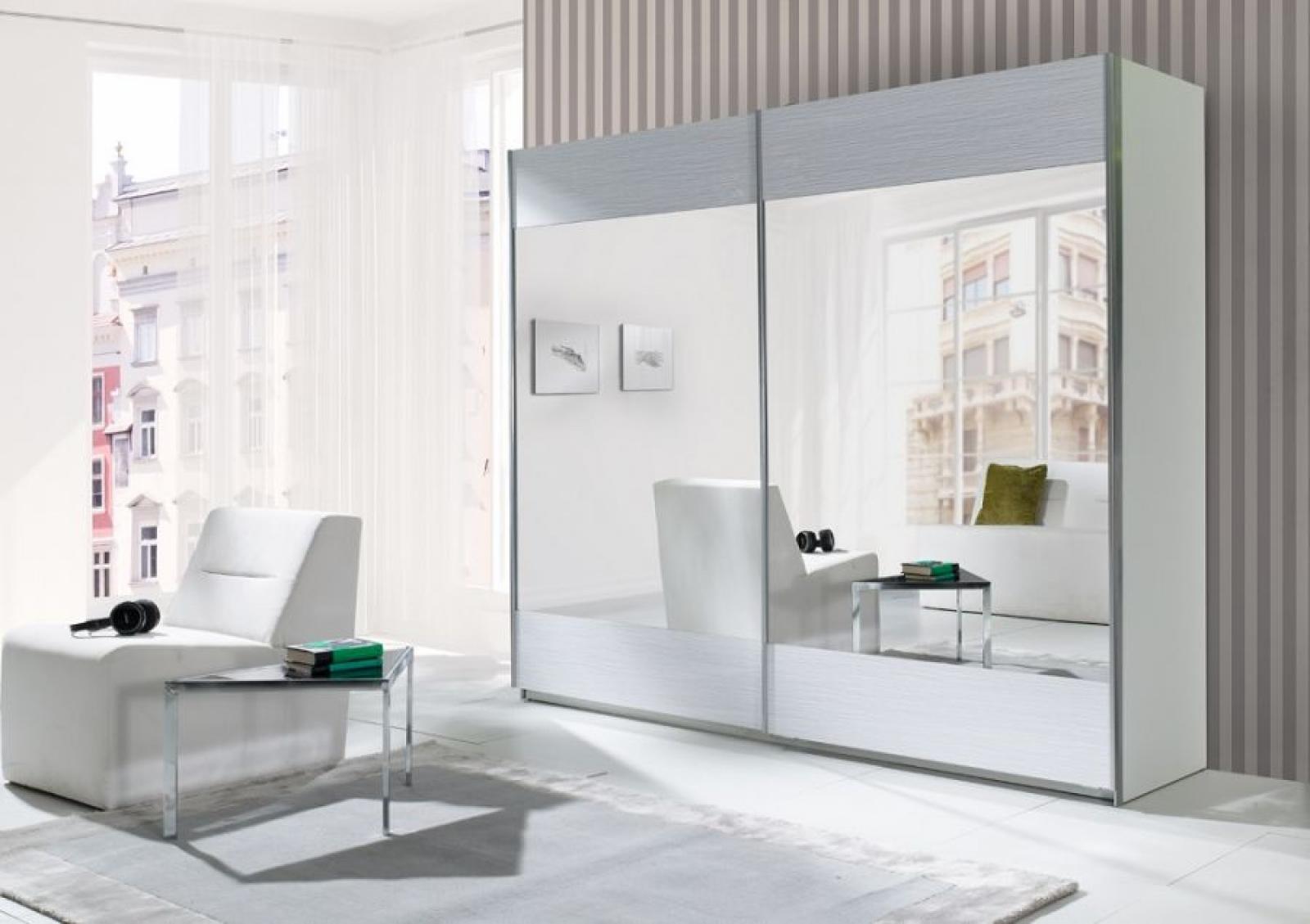 Kleiderschrank weiß schiebetüren spiegel  KAUFEXPERT - Schwebetürenschrank 244 cm Strip Weiß Kleiderschrank ...