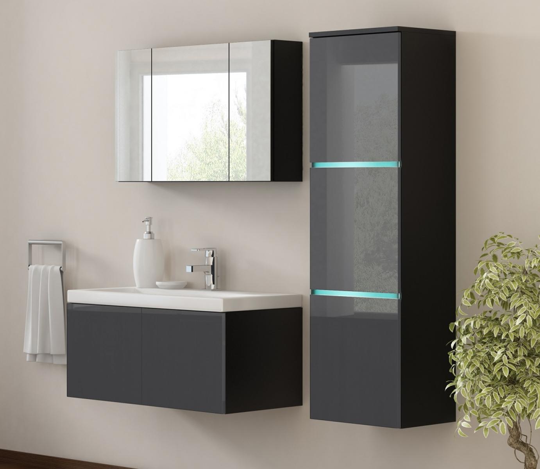 kaufexpert badm bel set werner xxl 1 grau hochglanz schwarz keramik waschbecken badezimmer. Black Bedroom Furniture Sets. Home Design Ideas
