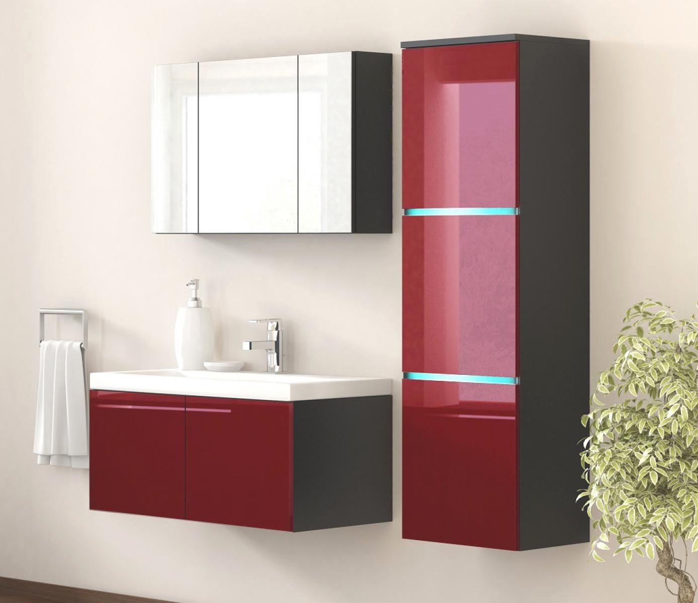kaufexpert badm bel set werner xxl 1 rot hochglanz schwarz keramik waschbecken badezimmer led. Black Bedroom Furniture Sets. Home Design Ideas