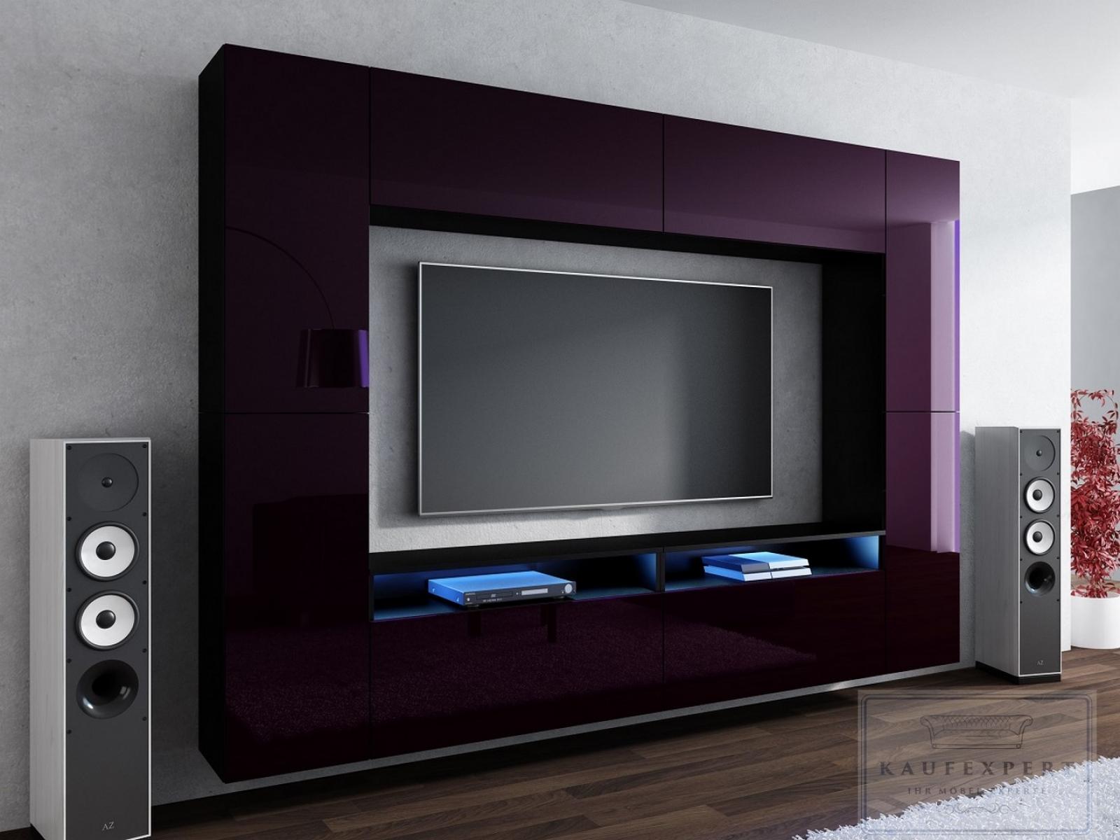 kaufexpert wohnwand cinema aubergine hochglanz schwarz. Black Bedroom Furniture Sets. Home Design Ideas
