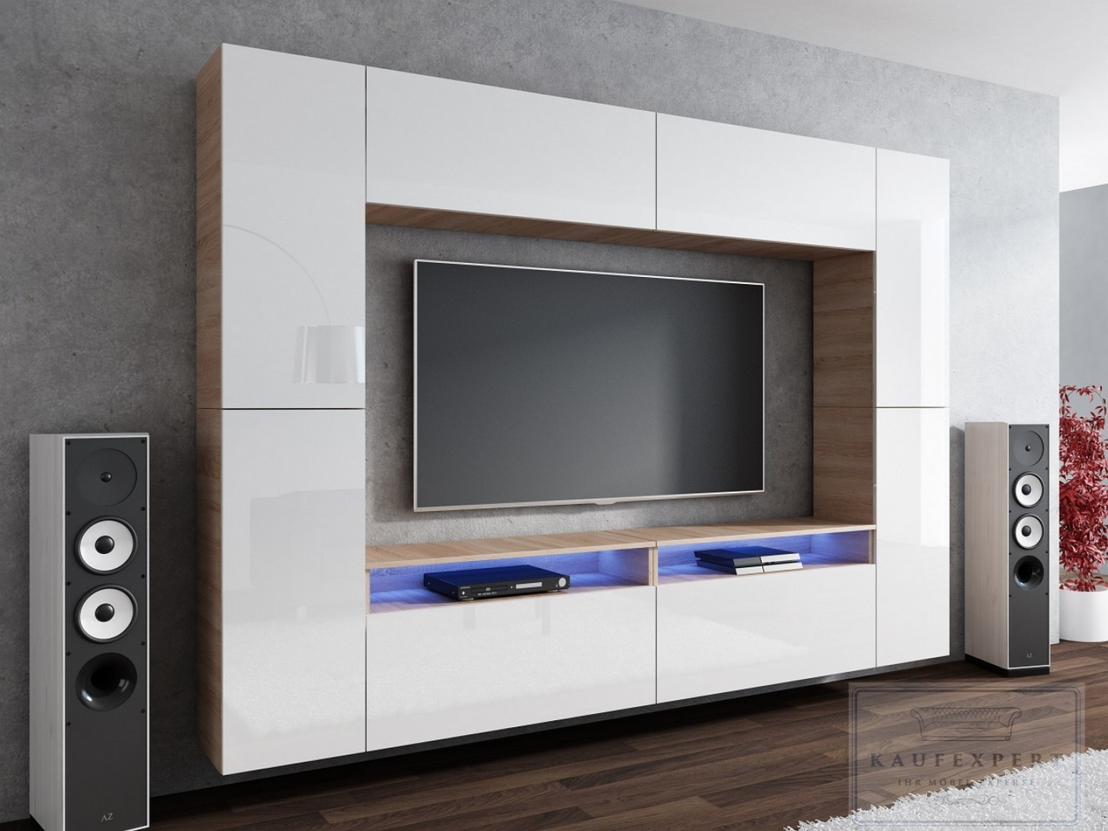 kaufexpert wohnwand cinema wei hochglanz sonoma eiche mediawand medienwand design modern led. Black Bedroom Furniture Sets. Home Design Ideas