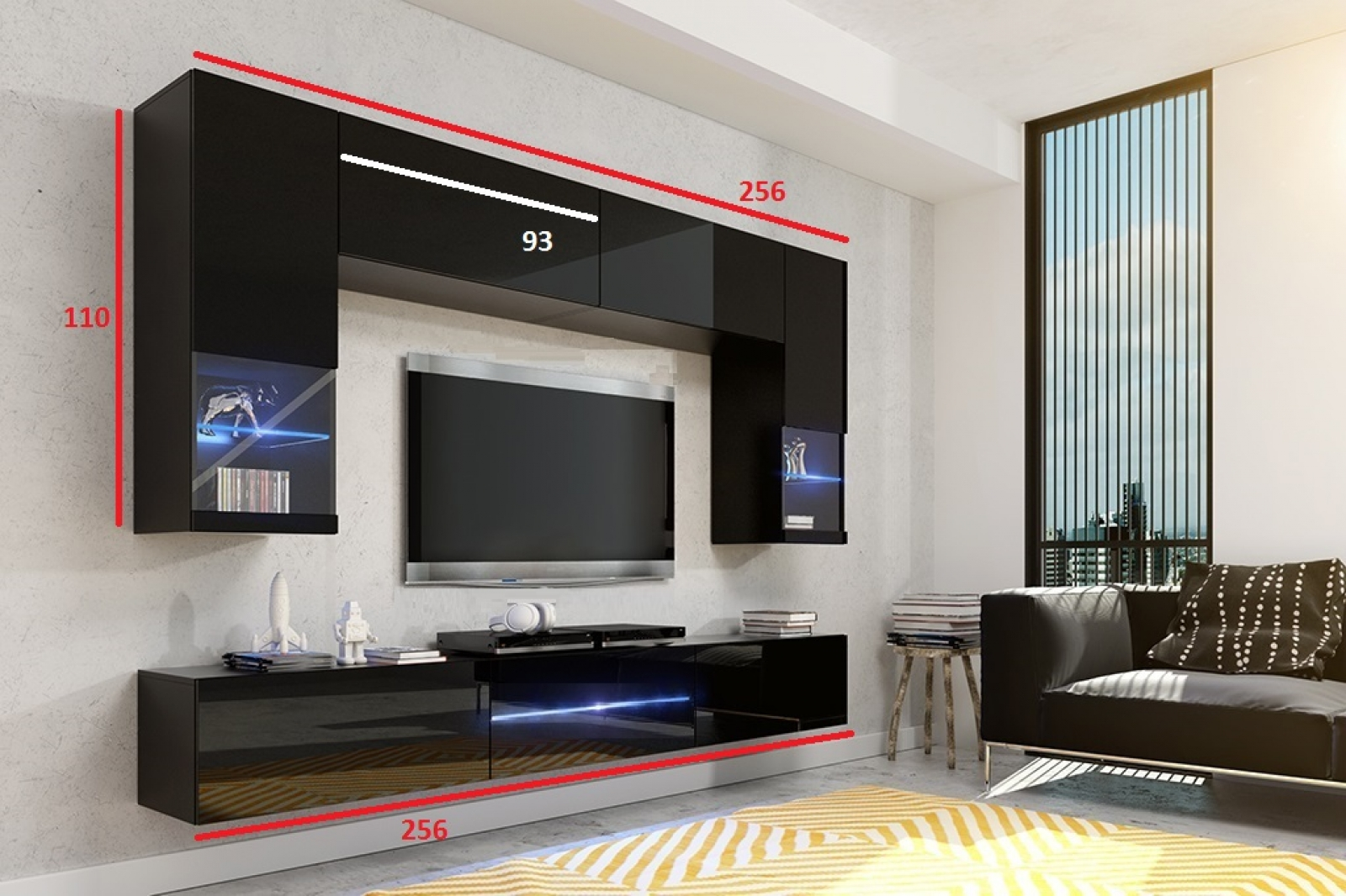kaufexpert wohnwand milano grau hochglanz schwarz 256 cm mediawand medienwand design modern. Black Bedroom Furniture Sets. Home Design Ideas