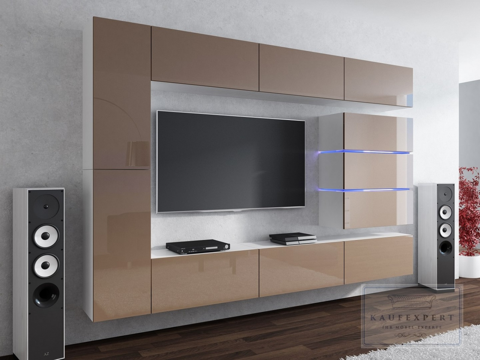 kaufexpert wohnwand shine cappuccino hochglanz wei 284 cm mediawand medienwand design modern. Black Bedroom Furniture Sets. Home Design Ideas
