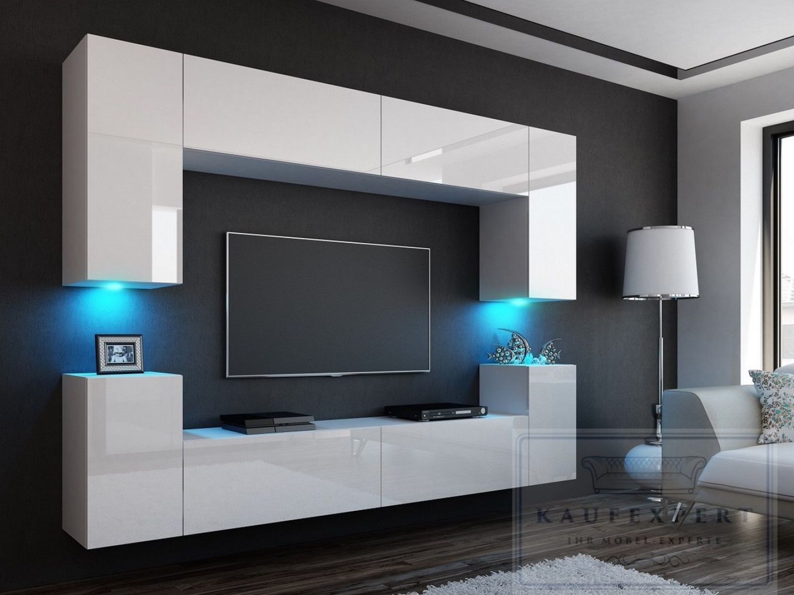 wohnwand modern weiss hochglanz. Black Bedroom Furniture Sets. Home Design Ideas